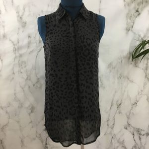 Lush Black Leopard Print Sleeveless Tunic Top SS08